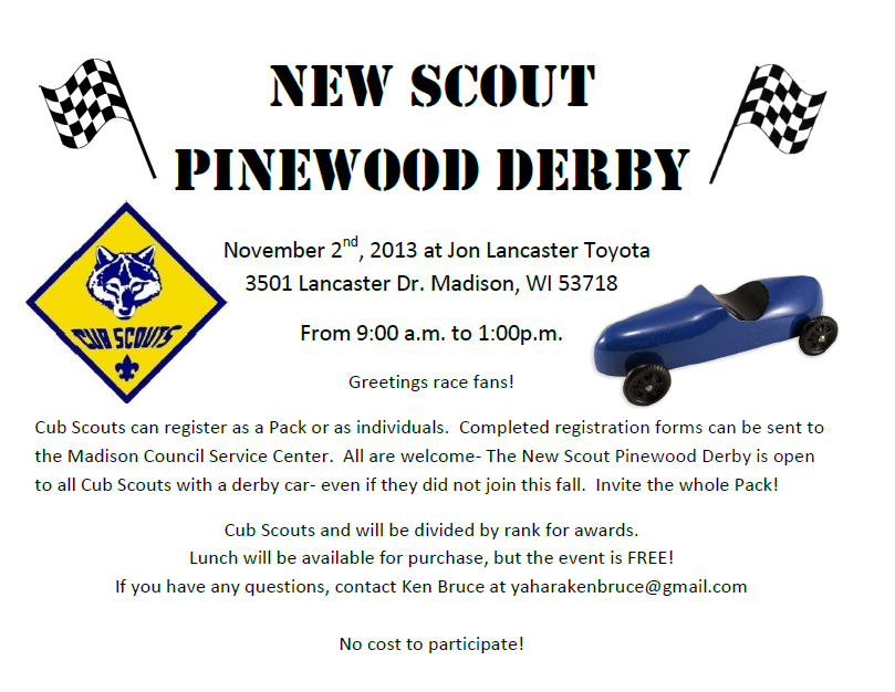 New Scout Pinewood Derby On November 2nd Pack 801 Madison Wi